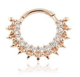14ct Rose Gold Pavé Gems Daith Septum Ring