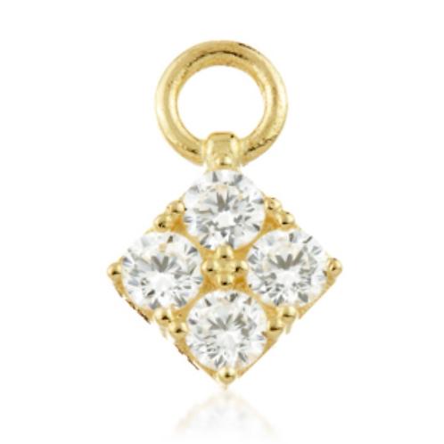 Gold Gem Diamond Shaped Charm