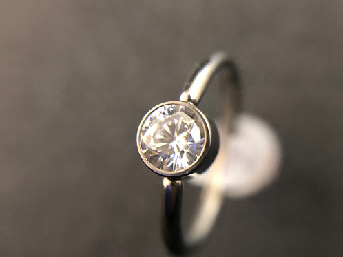 Clear CZ Captive Bead Ring