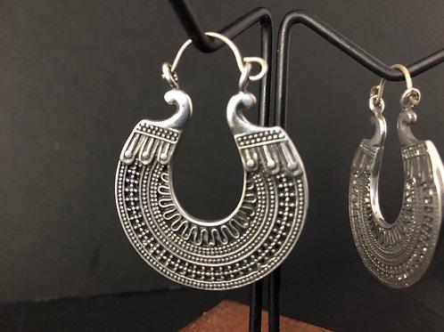 Silver brass sheild earrings