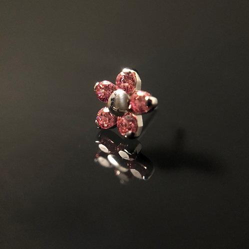 Pink Swarovski Flower Threadless End