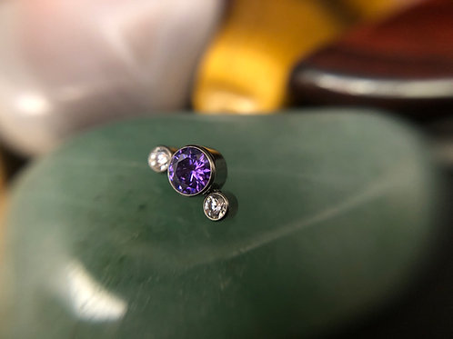 Midnight Purple & Clear Cz 3 Stone 16g End