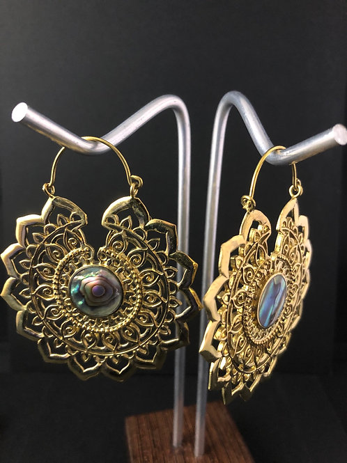 Brass lotus hoop earrings with Abolony
