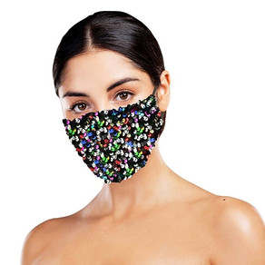 Black Sequinned Face Mask