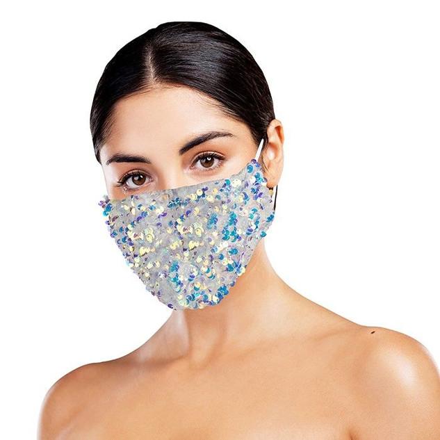 White Sequinned Face Mask