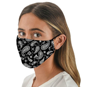 Black Paisley Patterned Face Mask