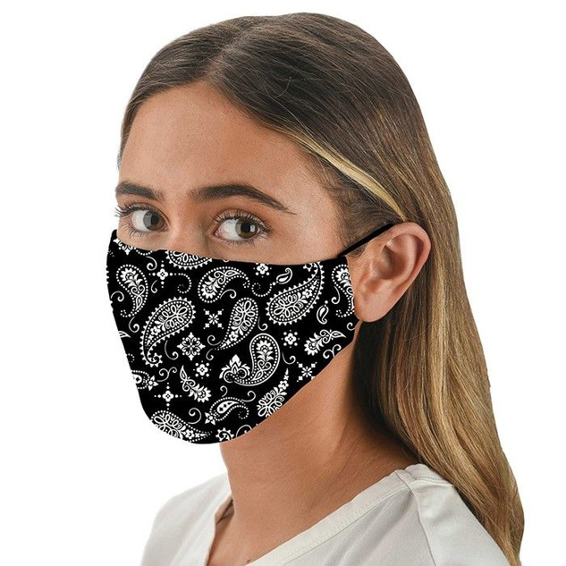 Black Paisley Patterned Face Mask