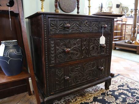 Antique Carved Oak Chest - £425