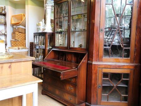 Reproduction Mahogany Glazed Bureau - £125