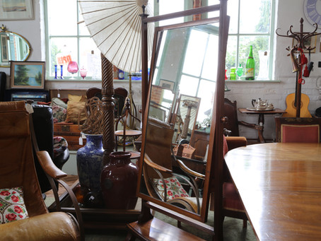 Edwardian Mahogany and Inlaid Cheval Mirror - £195