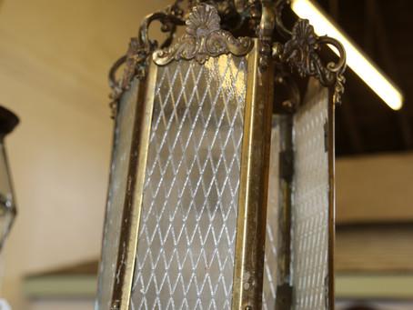Brass & Glass Light For Repair - SOLD