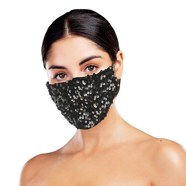 Black Sequinned Face Mask