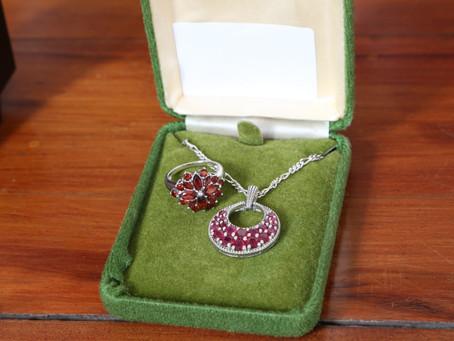 Silver Garnet Ring & Pendant Necklace - £48