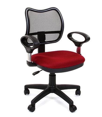 Кресло операторское красное яркое chairman  ch450 сеточка