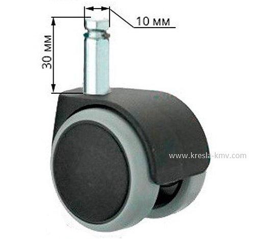 Ролик полумягкий паркетный  D=50 мм для кресла, шток (10 мм) (к-т 5 шт)