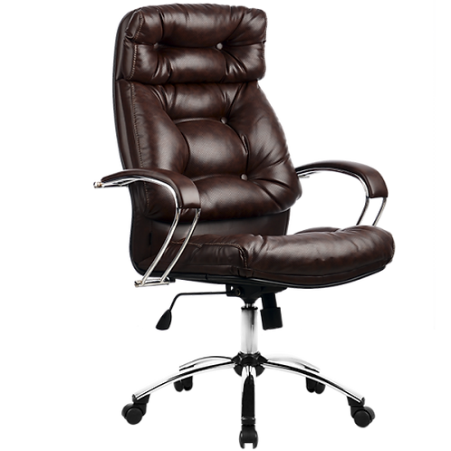 Кресло кожаное самурай Lk-14 хром мягкое черное для выских