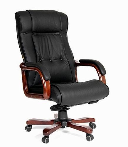 Кресло CHARMAN 653 кожаное с деревянными подлокотниками удобное надежное с гарантией