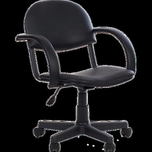 кресло офисное парикмахера на металлокаркасе черное надежное