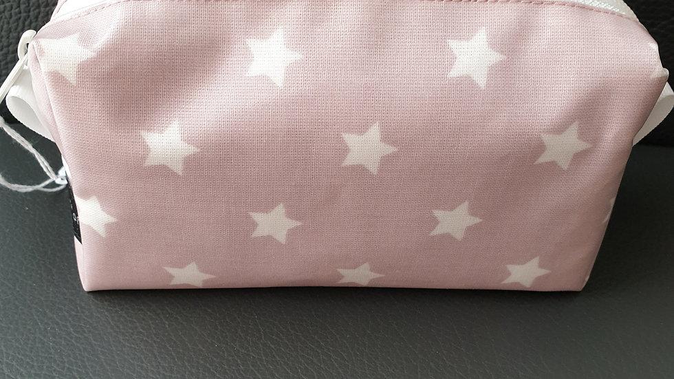 Kosmetiktäschli rosa mit Sternen weiss