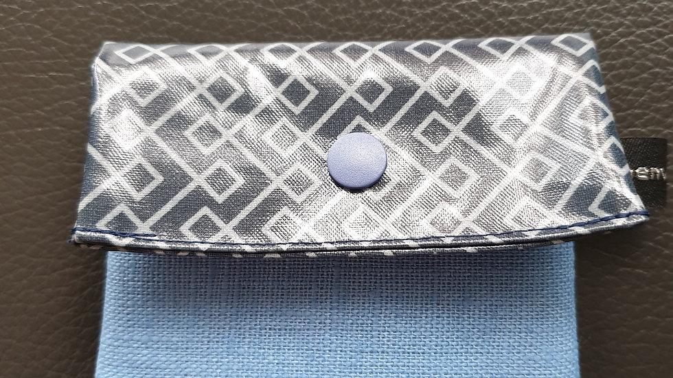 kleines Portemonnaie Infinity Blue / Leinen French Blue