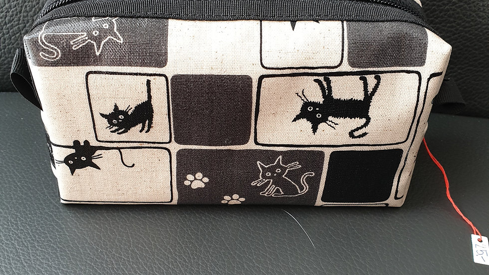 Kosmetiktäschli Katzen beige/schwarz