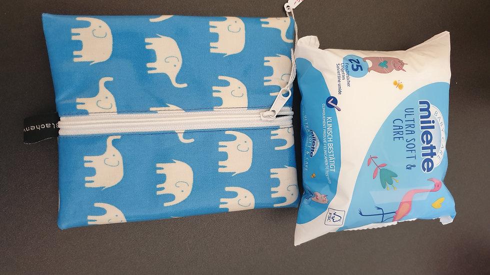 Feuchttüchli-Täschli Elefanten blau