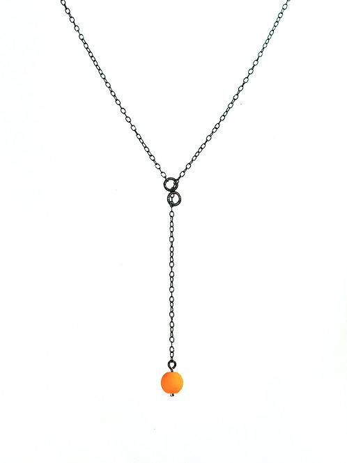 Silver Pendant Orange Dot