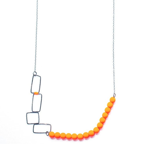 Silver Necklace with Orange Beads