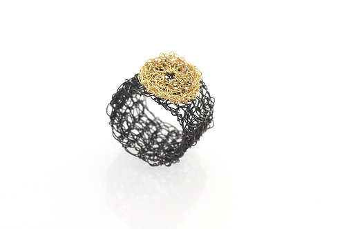 Crocheted Oxidized Ring with Gold