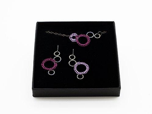 Jewellery Set - Oxidized Silver Necklace and Drop Earrings Crocheted Purple