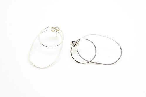 Silver ear jacket earrings