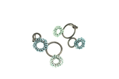Oxidised Silver Earrings 4 Circles with Crocheted Color Wire