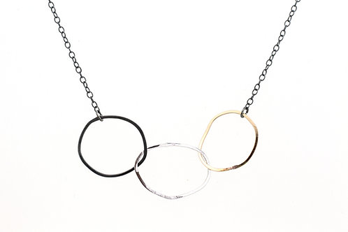 Silver Necklace Three Irregular Circles