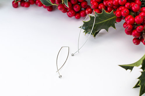 Simple Silver Earrings with Crystal