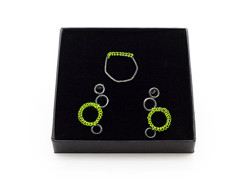 Jewellery Set-Crocheted Green