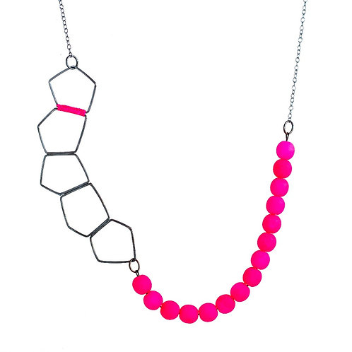 Long Silver Necklace Oxidised Shapes and Fluorescent Pink