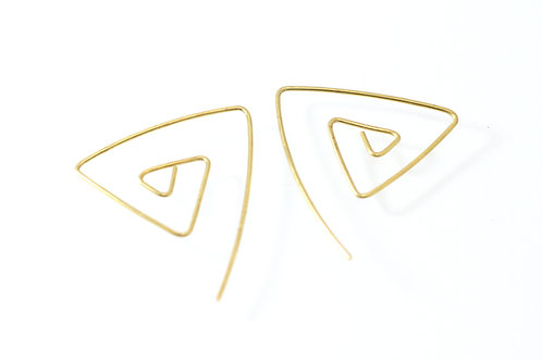 Simple Earrings Triangle Gold