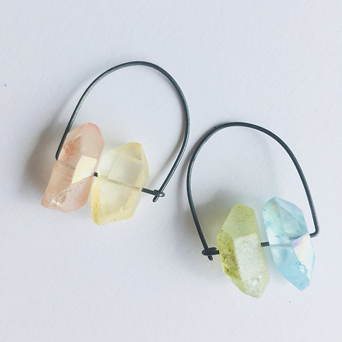 Silver earrings with color quartz