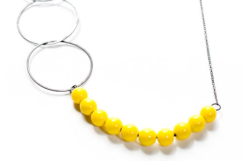 Modern Long Silver Necklace Yellow Beads