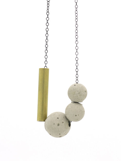 Concrete and Brass Pendant on Silver Chain