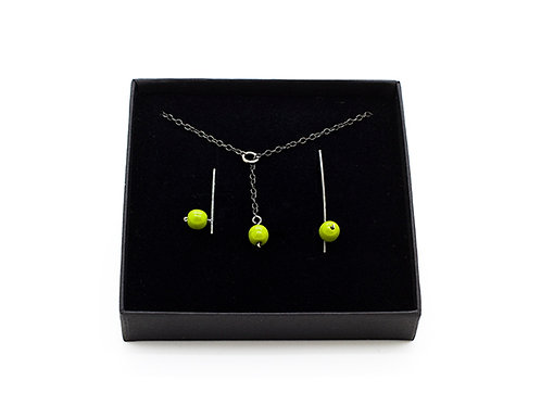 Silver Jewellery Set - Green Beads