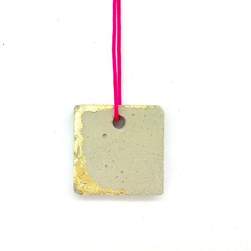 Concrete Square Pendant on Pink Cord