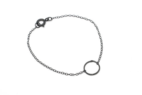 Minimalistic Silver Bracelet-Oxidised