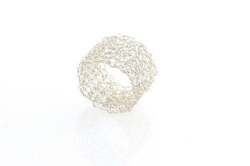 Crocheted Silver Ring