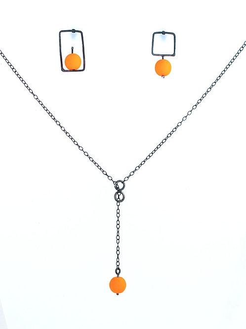 Silver Jewellery Set - Orange Beads