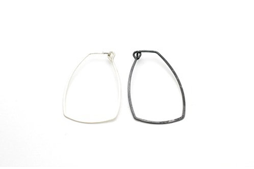 Silver Hoop Earrings-Irregular