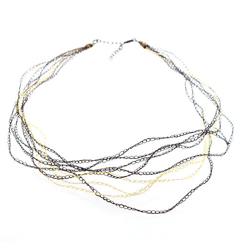 Hand Crocheted Necklace Gold and Oxidised Silver