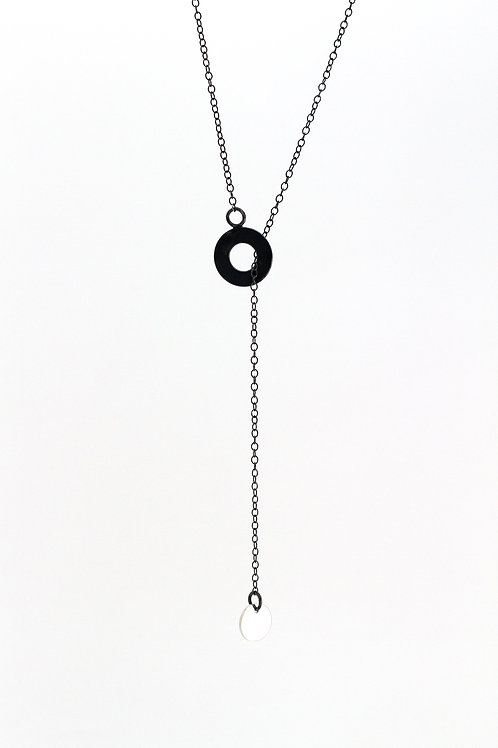 Long minimalistic necklace with silver dot