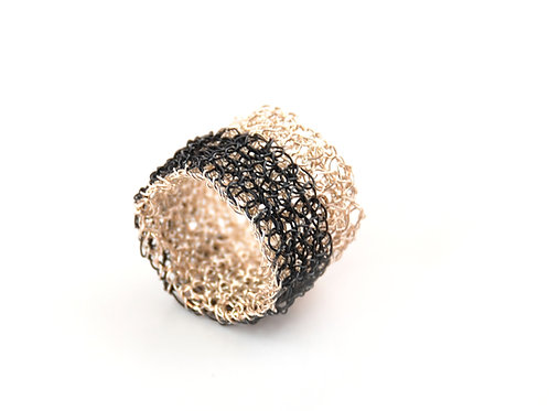 Hand Crocheted Silver Ring