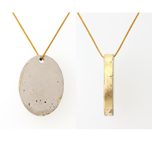 Concrete Oval Pendant on Yellow Cord